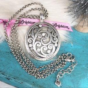 Brighton Mantilla Crystal Silver 2 Strand Necklace